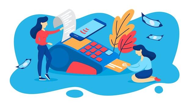 Betaalautomaat voor betaling met creditcard Premium Vector