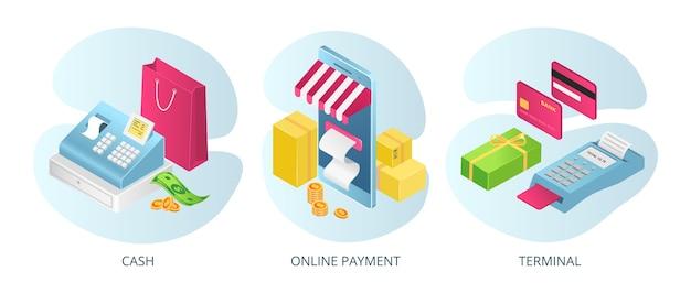 Betaalmethoden, geldautomaten online, set van Premium Vector