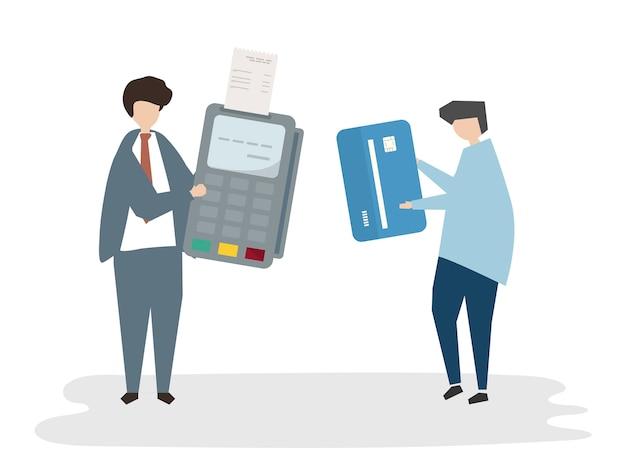 Betaling avatar illustratie Gratis Vector