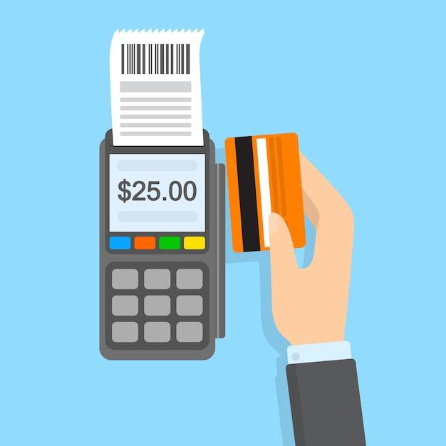 Betaling met creditcard in betaalautomaat. elektronisch geld. idee van moderne technologie. Premium Vector
