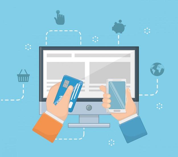 Betaling online icon set ontwerp Gratis Vector