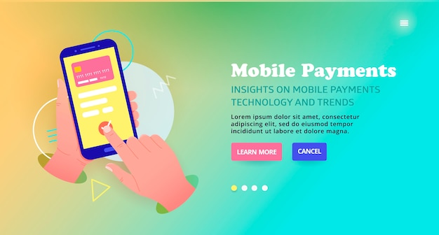 Betaling per kaart online, bannerontwerp. mobiele betalingen technologie sjabloonontwerp, webbanner. betaling voor goederen en diensten via mobiel. schuif illustratie over veilige online kaart. Premium Vector
