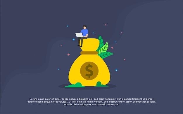 Betaling salaris illustratie concept met mensen karakter Premium Vector
