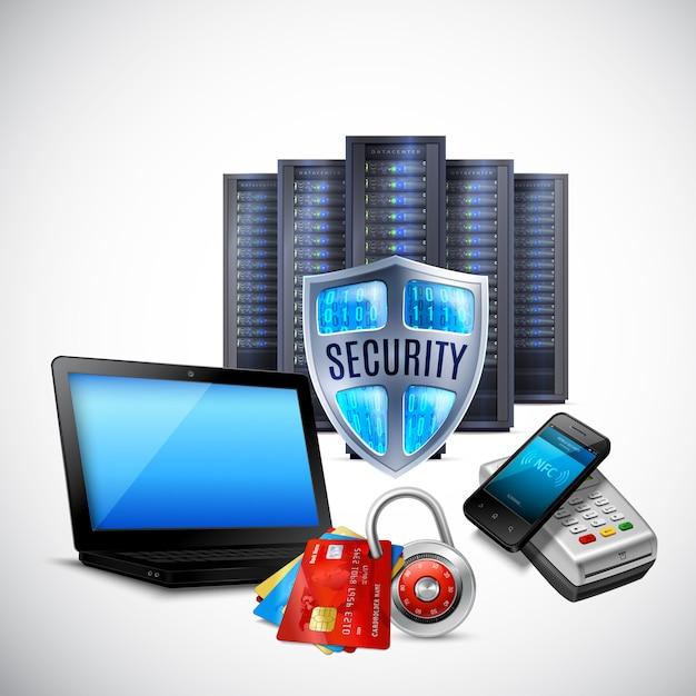 Betalingsbeveiliging realistische samenstelling met serverapparatuur bankkaarten nfc technologie op licht Gratis Vector