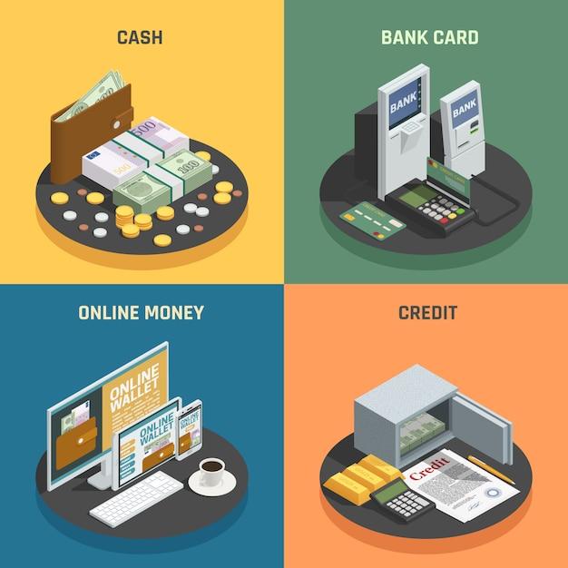Betalingsmethoden 4 isometrische pictogrammen vierkant met contant geld krediet bankkaarten en online transacties geïsoleerd Gratis Vector
