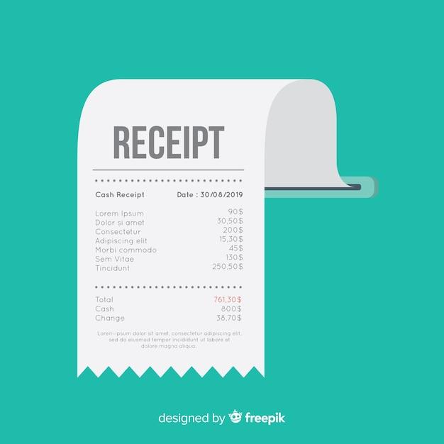 Betalingsontvangstsjabloon met plat ontwerp Gratis Vector