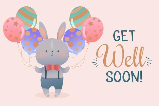 Beterschap citaat en konijn met ballonnen Gratis Vector