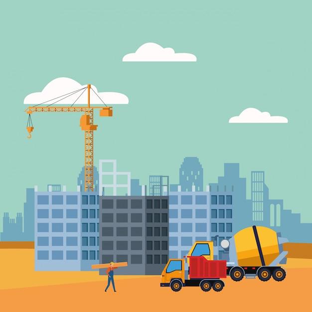 Betonmixer en dumper in aanbouw landschap Premium Vector