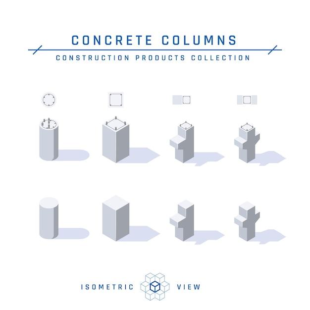 Betonnen kolommen, isometrische weergave set van pictogrammen voor architectonische ontwerpen in vlakke stijl Premium Vector
