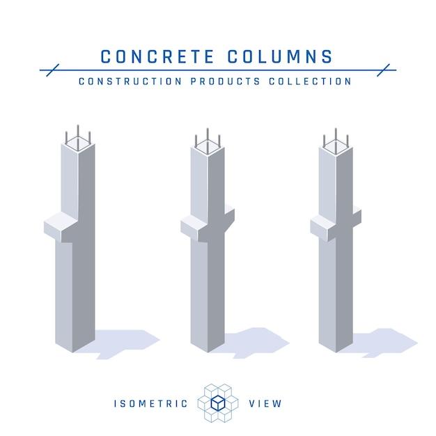 Betonnen kolommen, isometrische weergave. Premium Vector