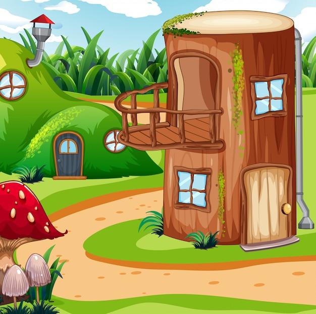 Betoverde houten huis in de natuur Gratis Vector