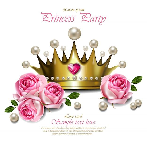 Betoverende gouden kroon met parels, mooie koninklijke kaart Premium Vector