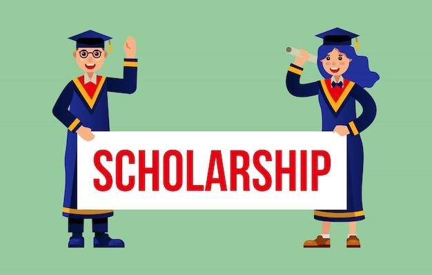 Beurs academische afstuderen Premium Vector