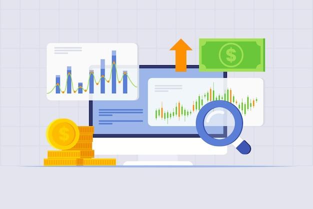 Beursanalyse concept Gratis Vector