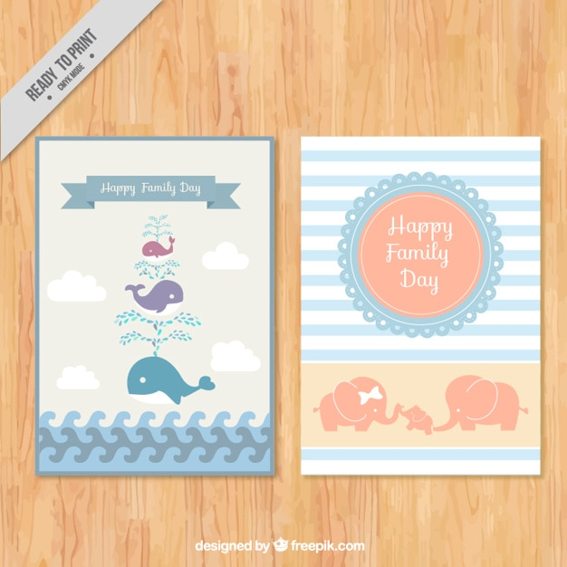 Beutiful familie dag kaarten met mooie dieren Gratis Vector