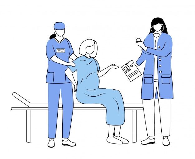 Bevalling bij ziekenhuis platte vectorillustratie. zwangere vrouw met weeën en arbeid. verloskunde en gynaecologie. verloskundige, verpleegster met patiënt stripfiguren geïsoleerd Premium Vector