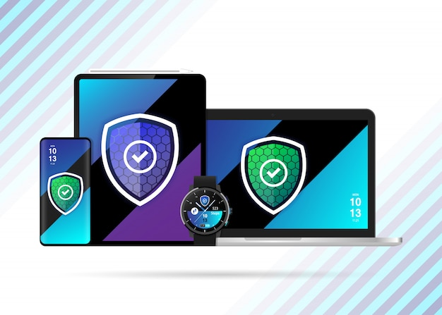 Beveiligde apparaten safe shield illustratie vector Premium Vector