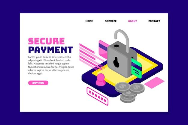 Beveiligde betaling bestemmingspagina concept Gratis Vector