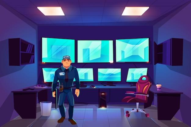 Beveiliger in cctv-controlekamer met meerdere monitoren die video van bewakingscamera's weergeven Gratis Vector