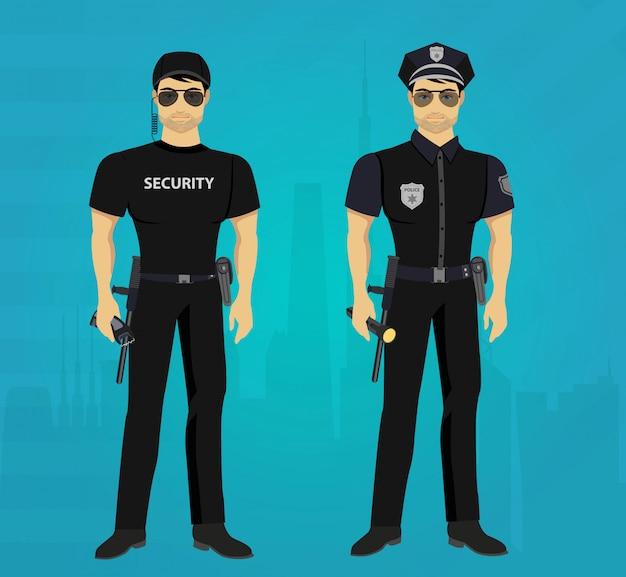 Beveiliging en politieagent bewaakt het concept. Premium Vector