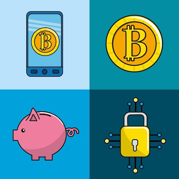 Beveiliging van digitale informatie naar bitcoin-valuta Premium Vector