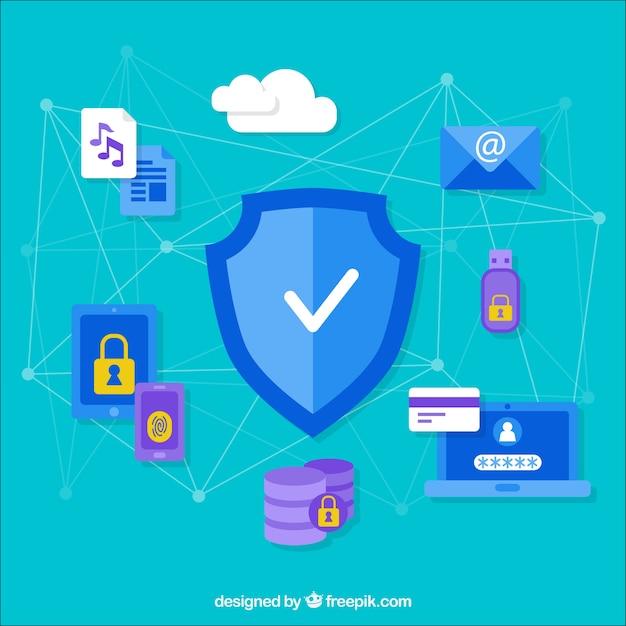 Beveiligingsachtergrond met items en aangesloten lijnen Gratis Vector