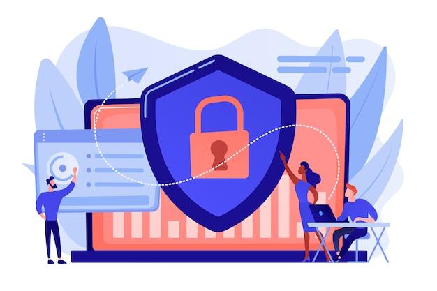 Beveiligingsanalisten beschermen met internet verbonden systemen met schild. cyberbeveiliging, gegevensbescherming, cyberaanvallen concept Gratis Vector
