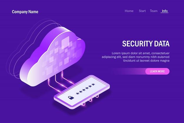 Beveiligingsgegevens in cloud storage. paneel voor wachtwoordinvoer voor toegang tot beveiligde bestanden Premium Vector