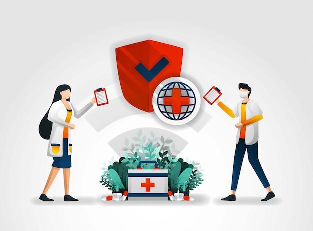 Beveiligingssysteem in het ziekenhuis en het ziekenhuis Premium Vector