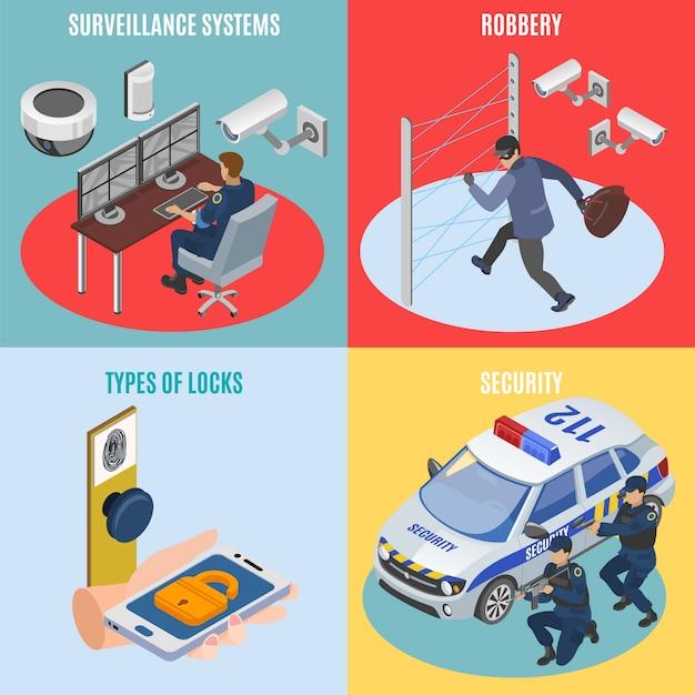Beveiligingssystemen isometrisch 4 pictogrammen vierkant concept met elektronische diefstalbeveiliging beveiligingstechnologie geïsoleerd Gratis Vector