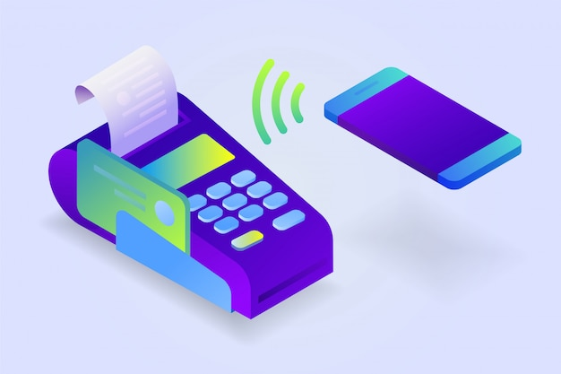 Bevestigt de betaling via de mobiele telefoon, verkoop afgedrukt ontvangstbewijs. pos-terminal, elektronische factuurbetaling. isometrisch Premium Vector