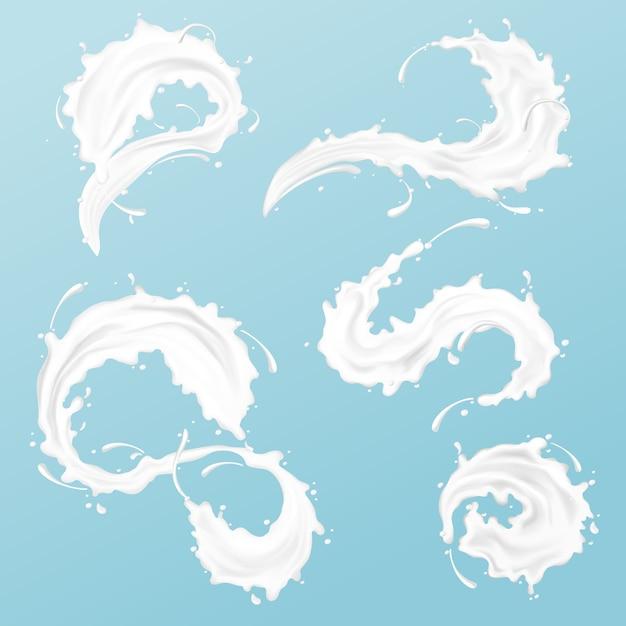 Bevroren beweging zure room of volle melk spatten met druppels Gratis Vector