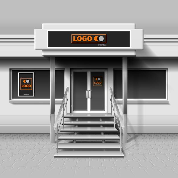 Bewaar de buitengevel voor branding en reclamebanner. storefrontgebouw voor bedrijfs buitengevel, café of winkel. Premium Vector