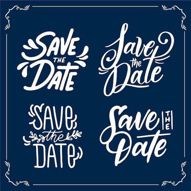 Bewaar de datum bruiloft belettering collectie Gratis Vector