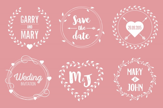 Bewaar de datum bruiloft illustratie set. Premium Vector