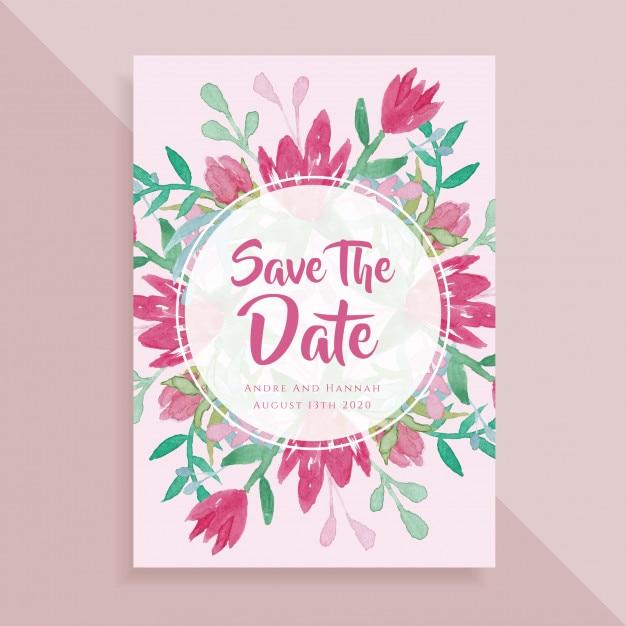 Bewaar De Datum Bruiloft Kaart Aquarel Vector Premium