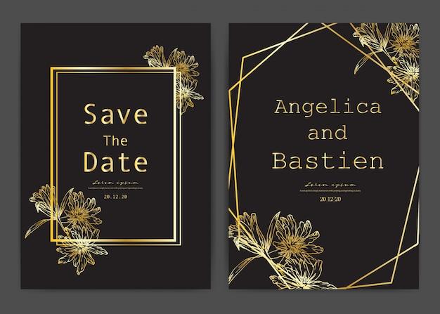 Bewaar de datum bruiloft kaart, bruiloft uitnodigingskaarten met hand getrokken botanische. Premium Vector