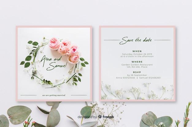 Bewaar de datum bruiloft uitnodiging sjabloon Gratis Vector