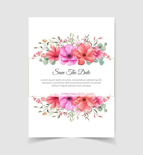 Bewaar de datum bruiloft uitnodigingskaart met bloemstukken Premium Vector