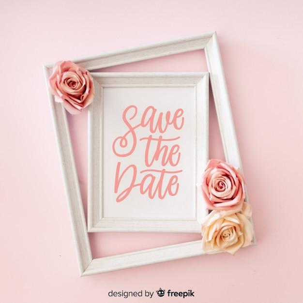 Bewaar de datum letters met foto Gratis Vector