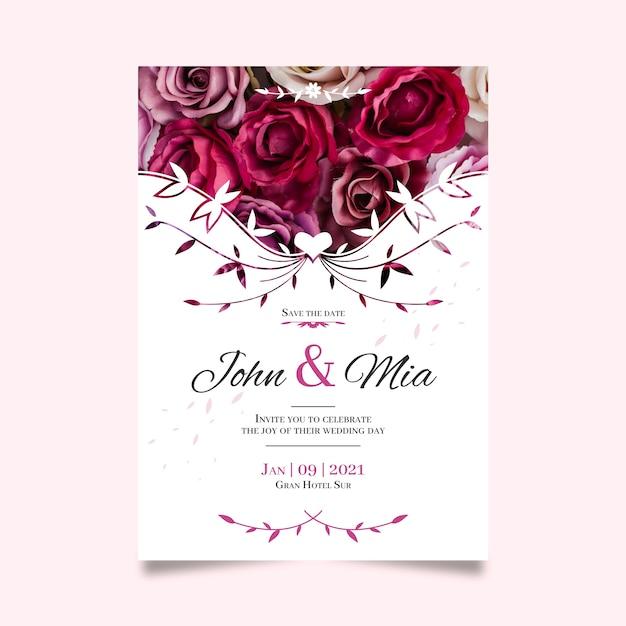 Bewaar de datum met met boeket rozen Gratis Vector