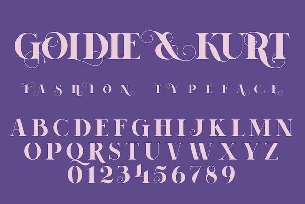 Bewaar de datum, mode en bruiloft uitnodiging lettertype, belettering illustratie. Premium Vector