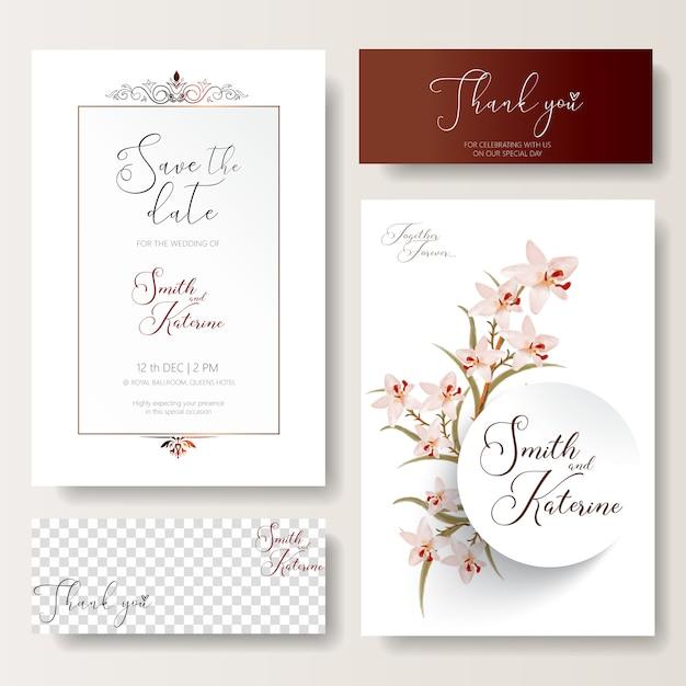 Bewaar de datum speciale trouwkaart roze orchideeën patroontextuur Premium Vector