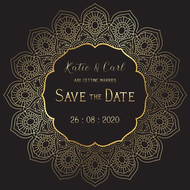 Bewaar de datumhuwelijkskaart met elegante mandala Gratis Vector