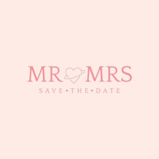 Bewaar de datumhuwelijksuitnodiging badge design vector Gratis Vector