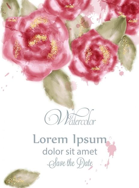 Bewaar de datumkaart met aquarel roze rozen Premium Vector