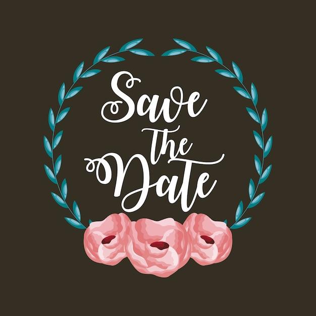 Bewaar de datumkaart met bloemen en bladeren Gratis Vector