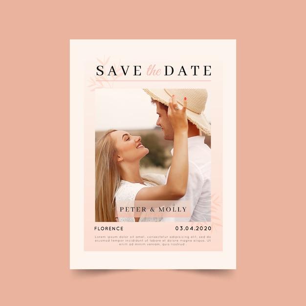 Bewaar de datumkaart met foto Gratis Vector