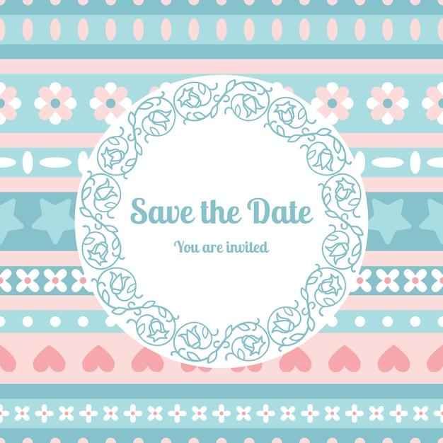Bewaar de datumkaartsjabloon met florale lijst Premium Vector