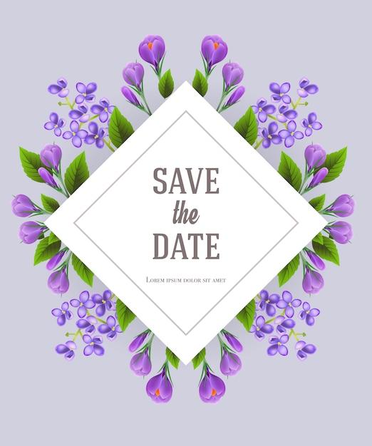 Bewaar de datumsjabloon met lila en crocus bloemen op een grijze achtergrond. Gratis Vector